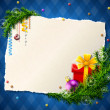 Paper for christmas list with gift and bauble — 图库矢量图片