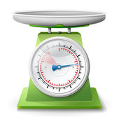 Weight scale on white background — Stockvector