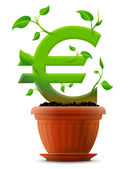 Growing euro symbol like plant with leaves in flower pot — Stock Vector