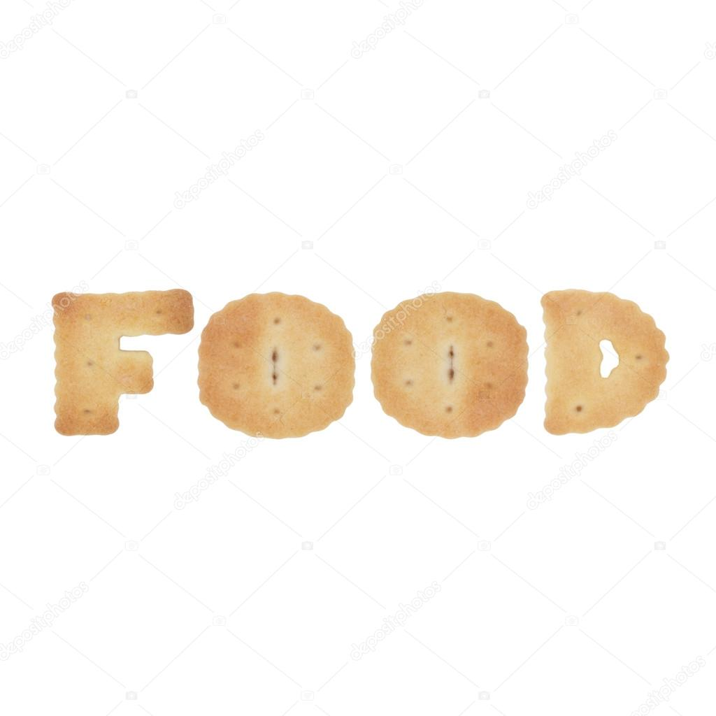 food word of letters of edible cookies isolated on white stock concept photo for cooking baking recipes gastronomy food etc photo by kulyk