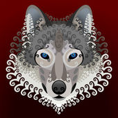Wolf's face with swirls — Stock Vector