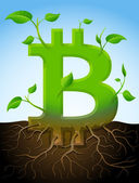 Growing bitcoin symbol like plant with leaves and roots — Stock Vector