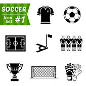 Icons set of soccer elements — Stock Vector