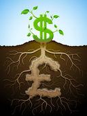 Wachsende dollarzeichen wie pflanze mit laub und pfund-zeichen wie r — Stockvektor