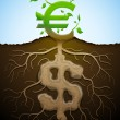 Growing euro sign like plant with leaves and dollar sign like ro — Stock Vector #47470575