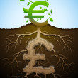Growing euro sign like plant with leaves and pound like root — Stock Vector #48208605