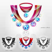 Symbol in shape of bust with diamond necklace — Stock Vector