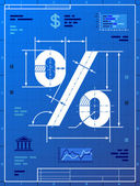 Percent sign like blueprint drawing — Wektor stockowy