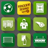 Flat icons set of soccer elements — Stock Vector