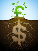 Growing pound sign like plant with leaves and dollar like root — Stok Vektör