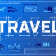 Постер, плакат: Word TRAVEL like blueprint drawing