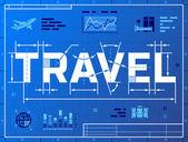 Word TRAVEL like blueprint drawing — Stock Vector