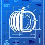 Постер, плакат: Pumpkin image like blueprint drawing