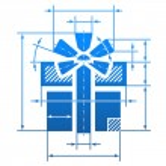 Постер, плакат: Gift symbol with dimension lines