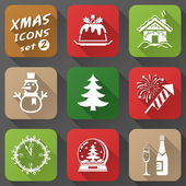 Set of christmas icons in flat style — Vector de stock