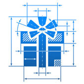 Gift symbol with dimension lines — Stock Vector