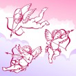 Vector de stock : Cupids In Clouds