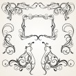 Vignettes, Corners and Frame in Floral Ornament - Stok Vektör