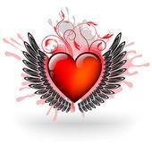 Grunge Red Heart — Stock Vector