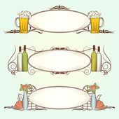 Oval Ornamental Frames for Menu — Stock Vector