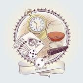 Vintage Illustration for Gambling — Stock Vector