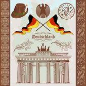 German Symbols Vintage Set — Stock Vector