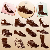 Different Shoes Icons — Stock Vector