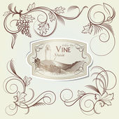 Grape Curls and Vine Label — Stock Vector
