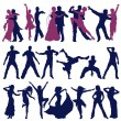 The contours of dancing , men, women and couples — Imagen vectorial