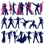 The contours of dancing , men, women and couples — Stock Vector