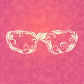 Sunglasses on Floral and Leafy Background — Stock Vector