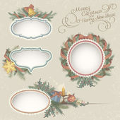 Christmas Drawn Vintage Frames — Stock Vector