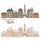 Drawn Cityscape in Paris — Stock Vector