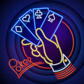 Poker Neon Illustration — Stock Vector