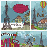 Vintage Banners with Views of Paris — Stock Vector