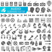 Audio Multimedia Icons — Stock Vector