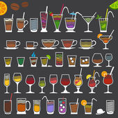 Retro Icons of Drinks — Stock Vector