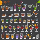 Icone retrò di bevande — Vettoriale Stock