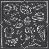 Freehand Contours of Sweets — Stock Vector