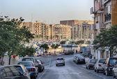 Street and yachts in Gzira bay (Malta) — Stock Photo