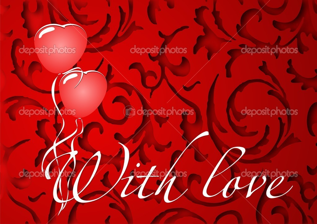 Card with love for Valentine's Day with hearts and balloons — Imagen vectorial #18635199