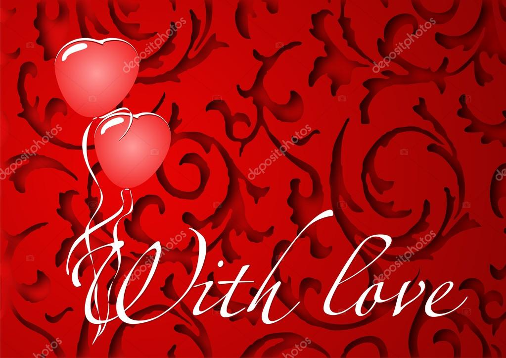 Card with love for Valentine's Day with hearts and balloons  Stockvectorbeeld #18635199
