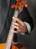 Close-up of a musician playing the cello classical music, on a d — Stock Photo