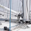 Running rigging of sailing yacht  — Stock Photo