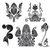 Greek pattern flowers — Stock Vector
