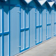 Change rooms in Italian beach - Foto Stock