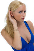 Jungh woman listening — Stock Photo
