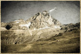 Old Postcard style, Italian Dolomites Rockies — Stock Photo