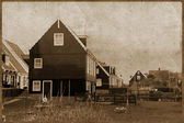 Vintage photo of aged buildings in Amsterdam country — Stock Photo