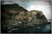 Old vintage-Manarola on the Cinque Terre, Italy — Zdjęcie stockowe